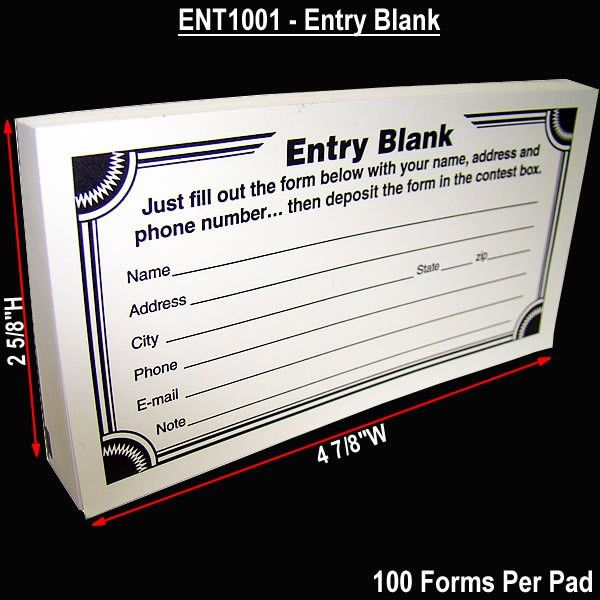 Cheap Contest Entry Form Pads - 100 Forms Per Pad