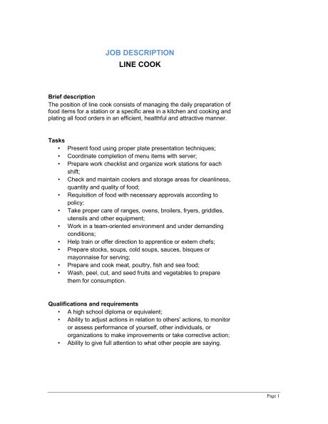 Line Cook Job Description - Template & Sample Form | Biztree.com