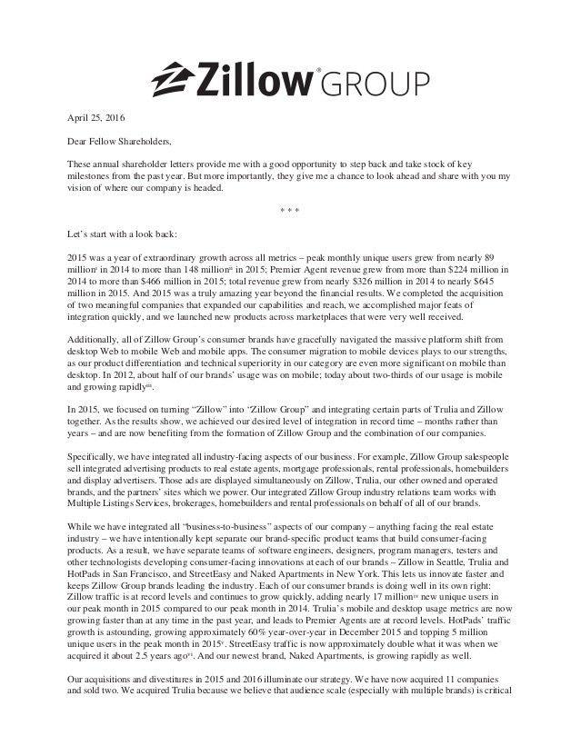 Zillow Group Shareholder Letter 2016