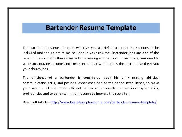 bartending resume templates valuebook co