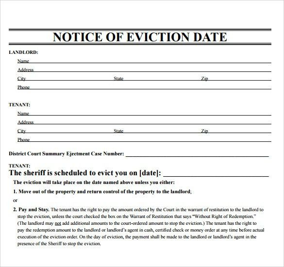 Printable Eviction Notice. Sample Eviction Notice Template 17 Free ...