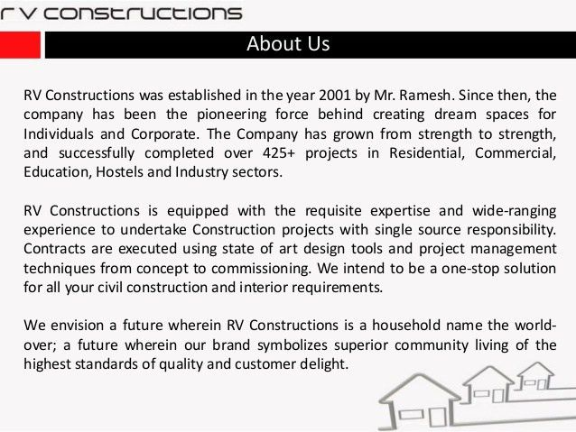 Rv constructions - Construction & Infrastructure Development contract…