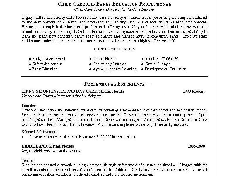 Resume For Daycare Worker. professional child care center ...