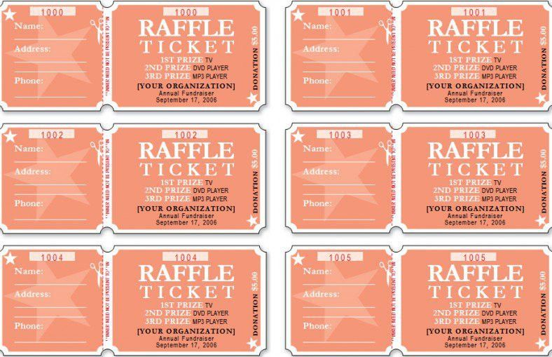 Raffle Ticket Templates - Free Formats Excel Word