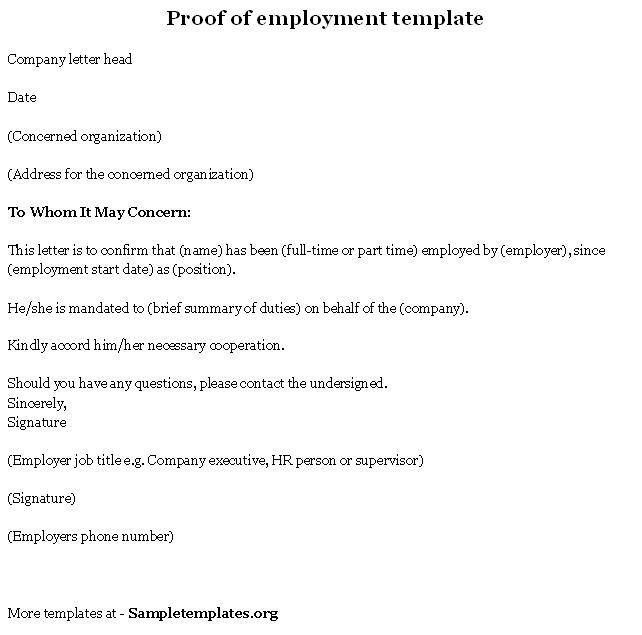 proof of employment letter sample best business template proof of ...
