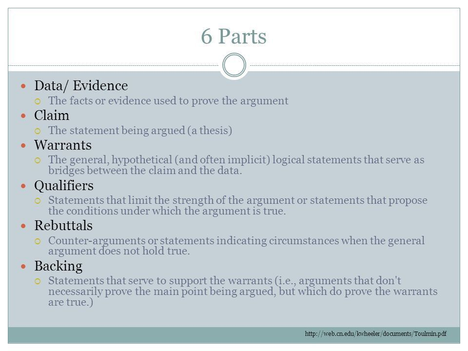 Toulmin's Model of Argument. 6 Parts Data/ Evidence  The facts ...