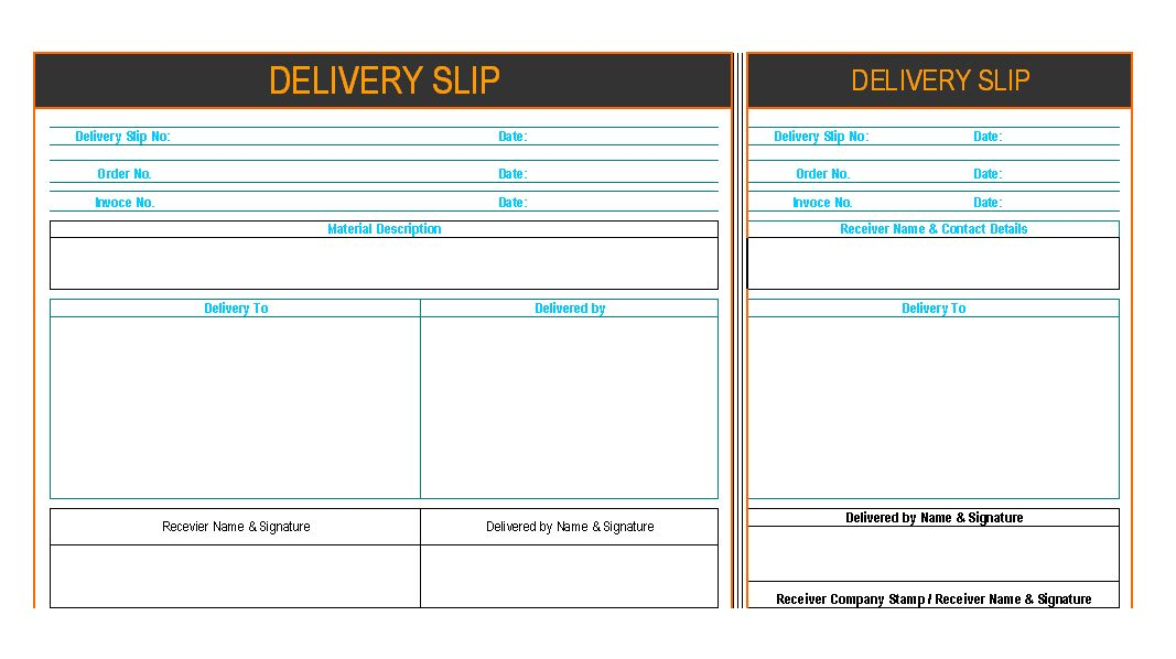 Delivery Slip Template] Delivery Note Template For Excel, Sample ...