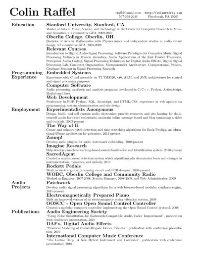 Résumé or curriculum vitæ (CV) in LaTeX « Alec's Web Log