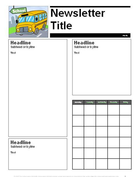Education World: August-September Parent Newsletter Template ...