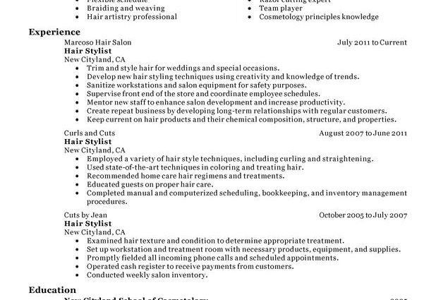 Hair Stylist Resume Sample hair stylist personal care and services ...