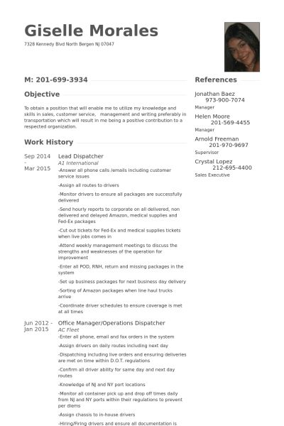 Dispatcher CV Beispiel - VisualCV Lebenslauf Muster Datenbank