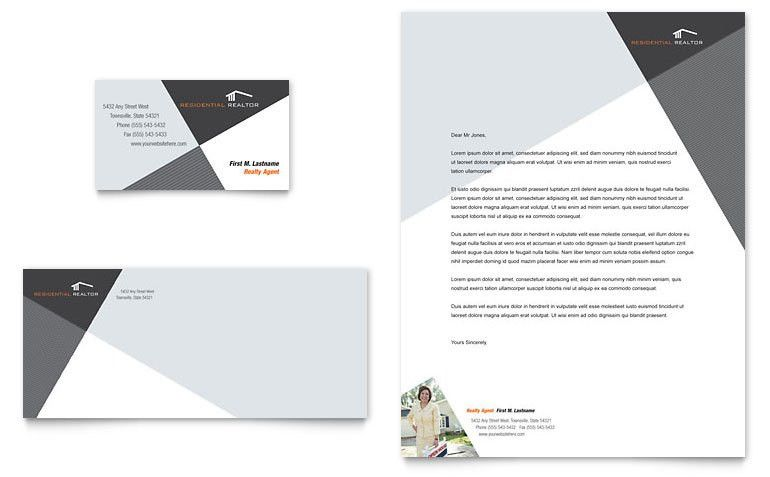 Contemporary & Modern Real Estate Business Card & Letterhead ...