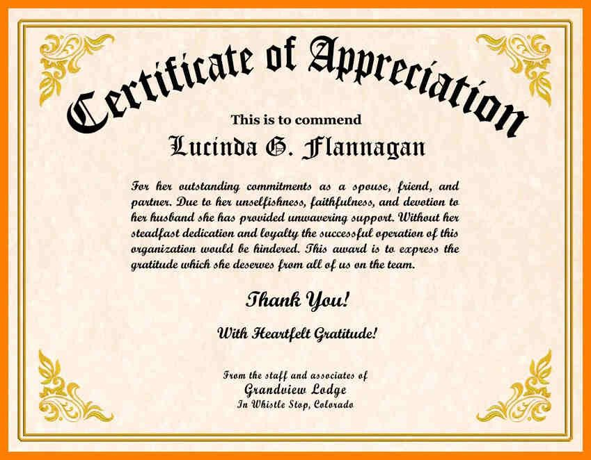 Appreciation Certificates Wording 54 [Template.billybullock.us ]