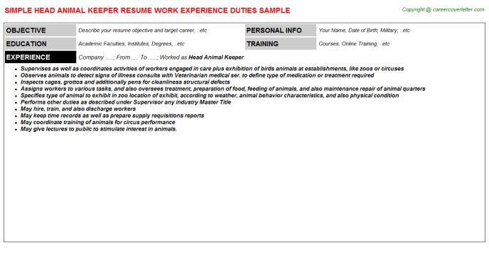Head Animal Keeper Job Title Docs