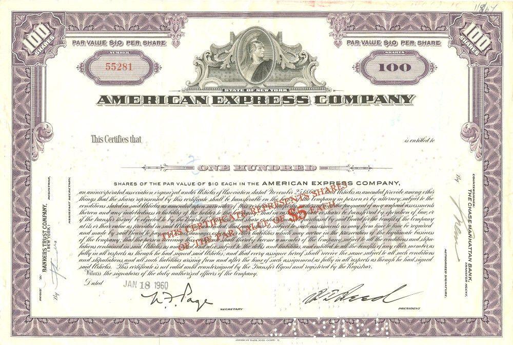 American Express Stock Certificate circa 1960 | Scripophily ...