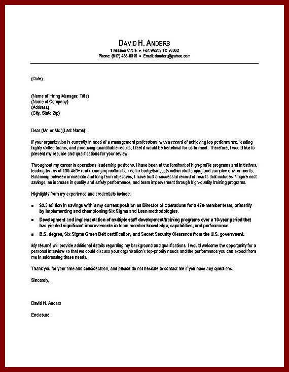 Underwriting Manager Cover Letter