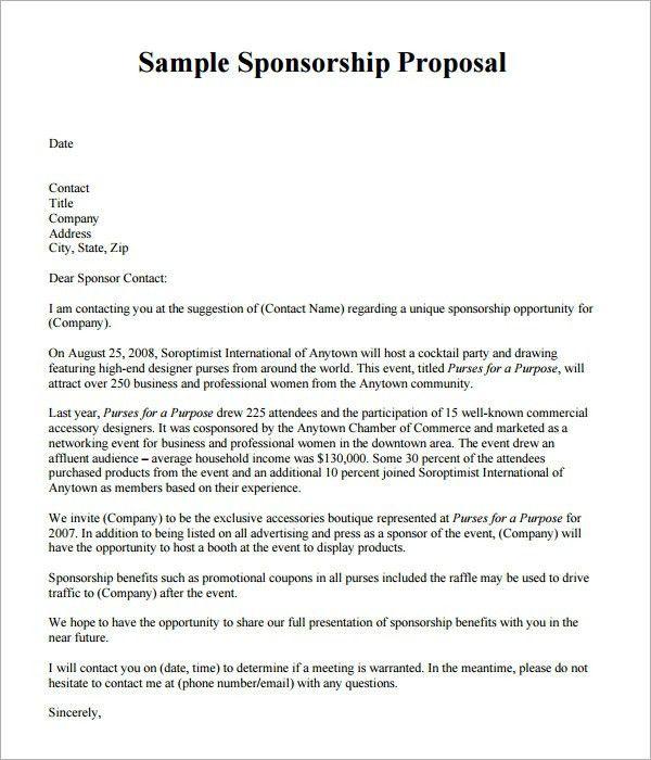 Sponsorship Proposal Template | peerpex