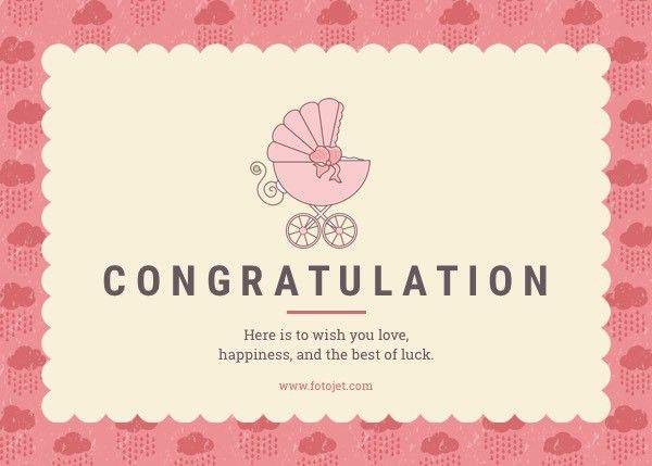Cute Baby Congratulation Card Template Template | FotoJet