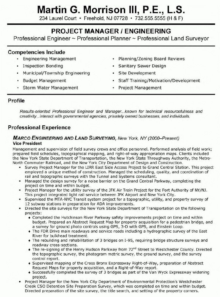 vp engineering and land surveying resume vp engineering and land - Engineering Professional Resume