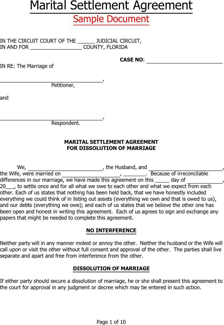 Florida Separation Agreement Template | Download Free & Premium ...