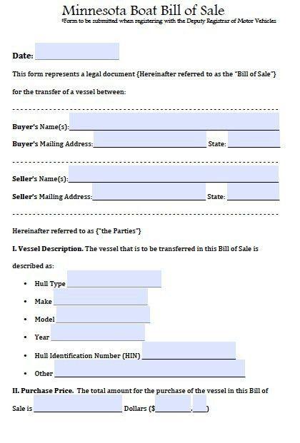 Free Minnesota Boat Bill of Sale Form | PDF | Word (.doc)
