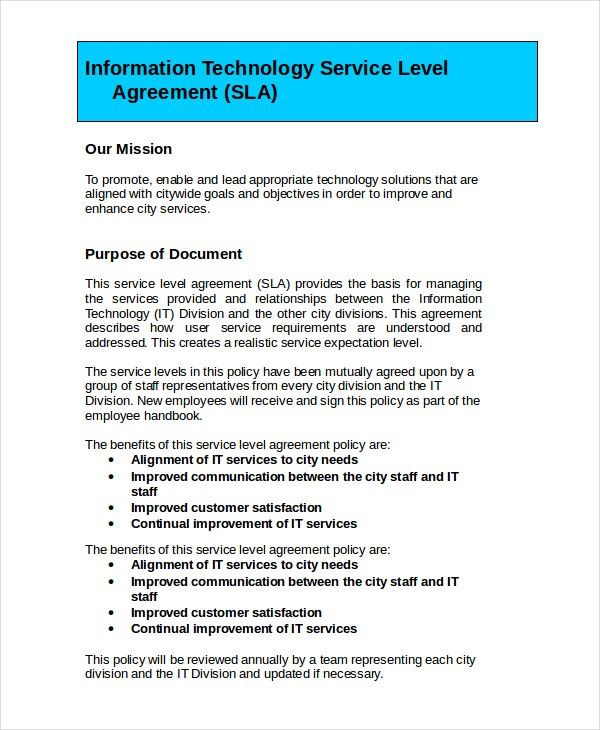 Service Level Agreement - 12+ Free PDF, Word, PSD Documents ...