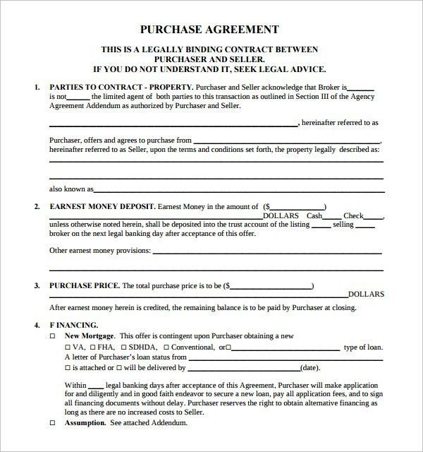 Real Estate Purchase Contract Template | Template Design