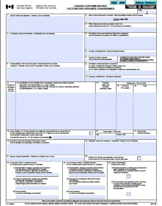 Free Canada Customs Commercial Invoice Template | Form CI1 | Excel ...