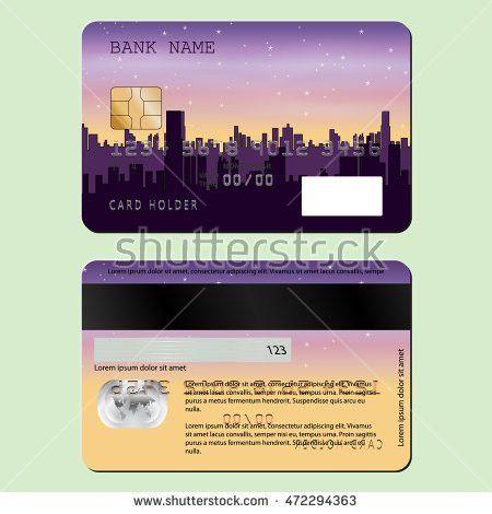 Sample Design Credit Card Night City Stock Vector 472294363 ...