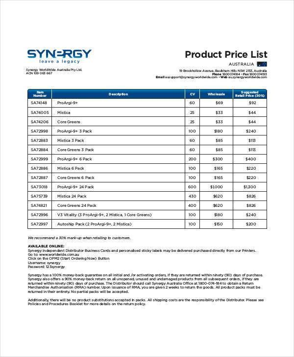 44+ Price List Samples