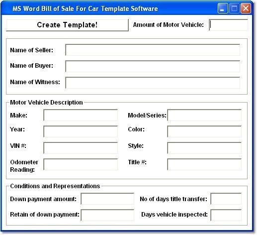 MS Word Bill of Sale For Car Template So Shareware Version 7.0 by ...