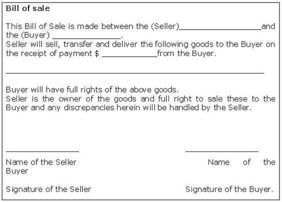 bill of sale receipt | Bill Of Sale Form Template | Sample ...