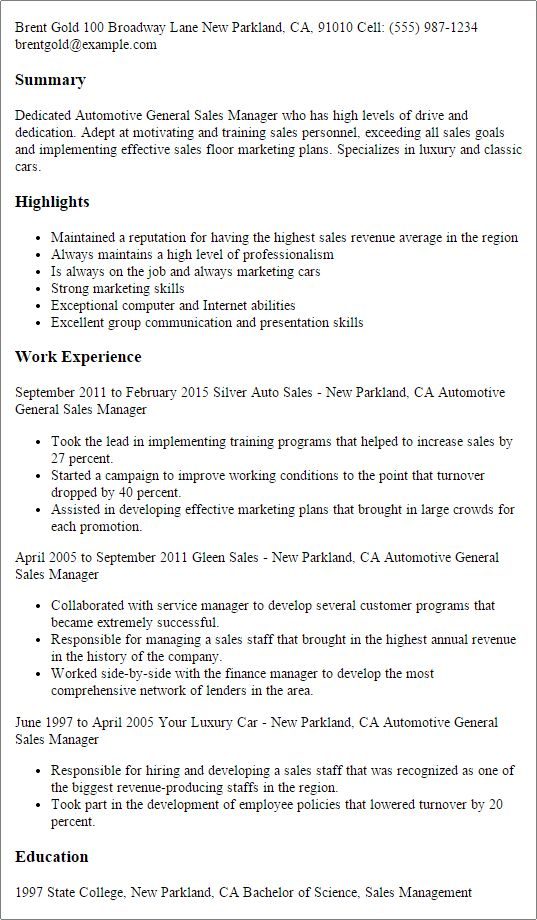 automotive service manager resumes