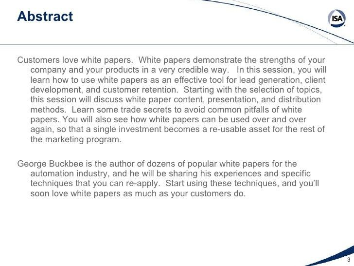 White Papers: Topics, Techniques, and Trade Secrets