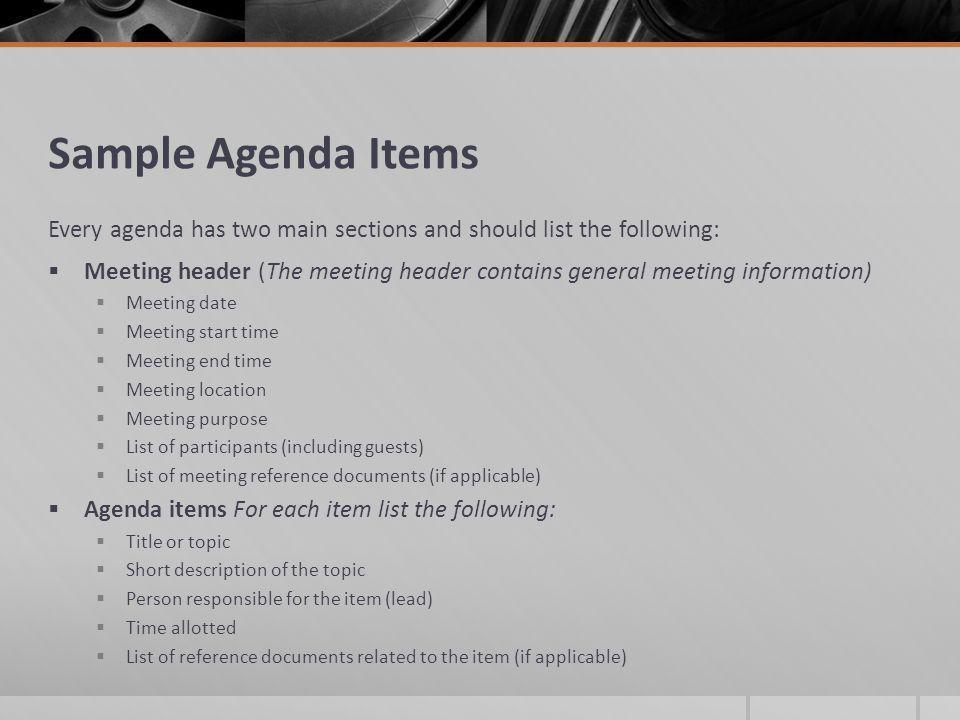 how to create a meeting agenda - Template