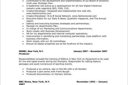Television Production Engineer Resume - Reentrycorps