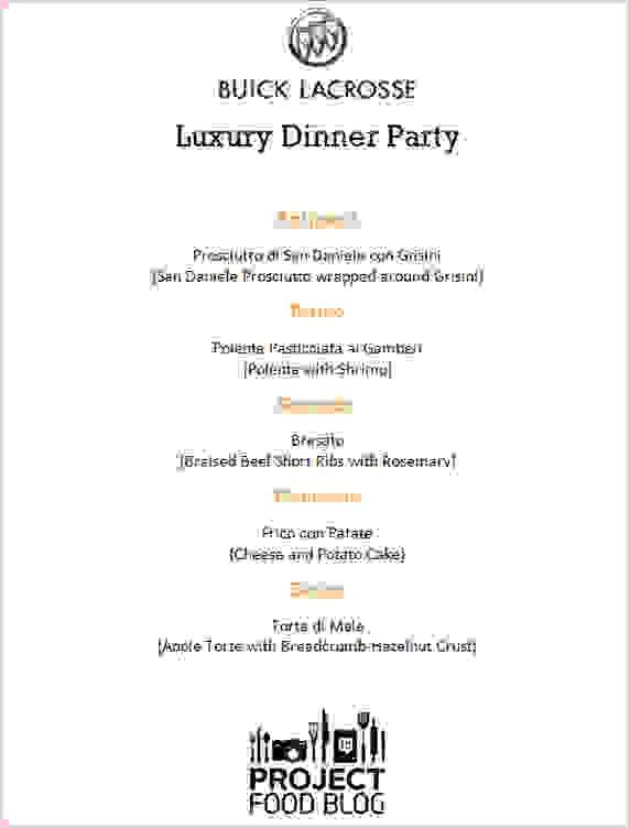 5+ dinner party menu template | Procedure Template Sample