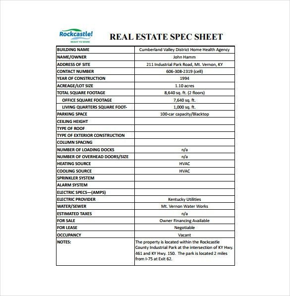 Spec Sheet Template - 6 Free Word, PDF Documents Download | Free ...
