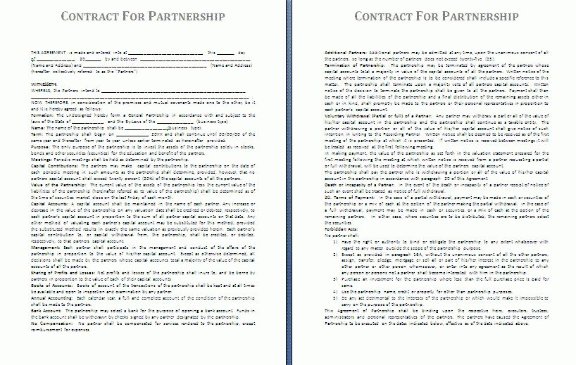 Partnership Contract Template | Free Contract Templates