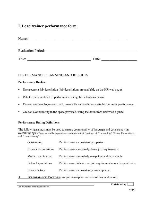 Lead trainer performance appraisal