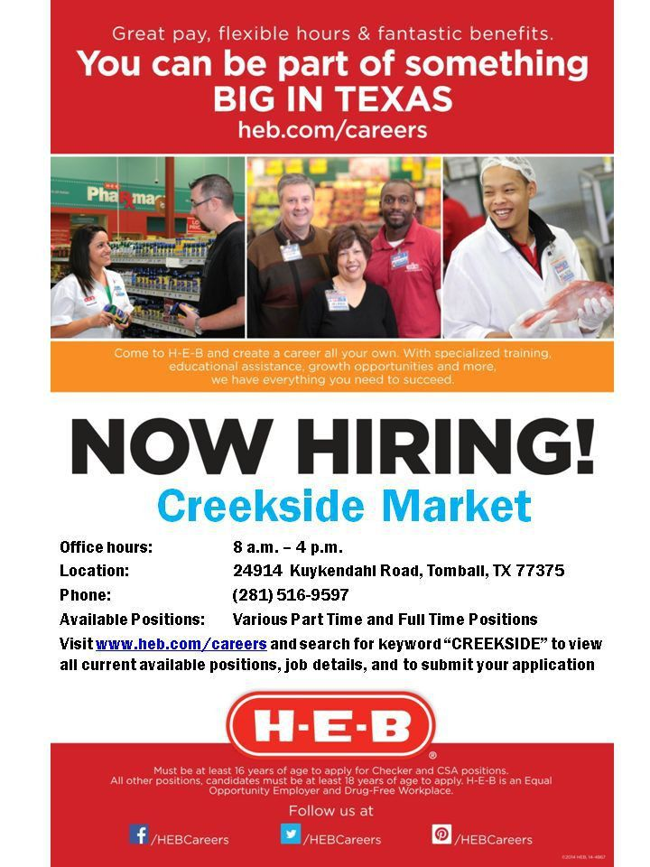 H-E-B Careers Fans, our new Woodlands #5 store will be opening ...