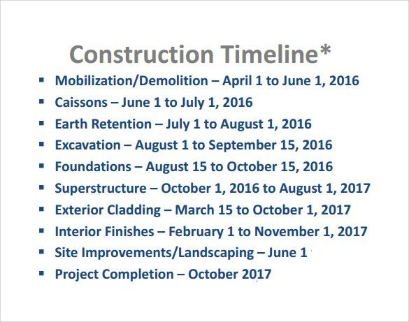 Sample Construction Timeline Template - 6+ Free Documents in PDF