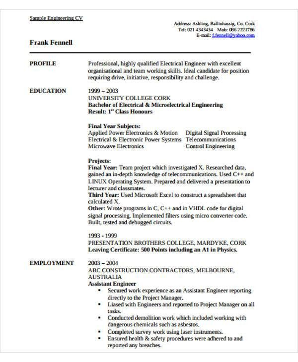 54+ Engineering Resume Templates | Free & Premium Templates