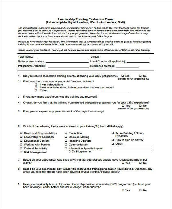 8+ Leadership Evaluation Form Samples - Free Sample, Example ...