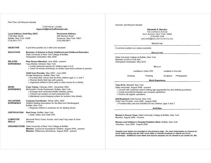 Resumes For Part Time Jobs | Samples Of Resumes