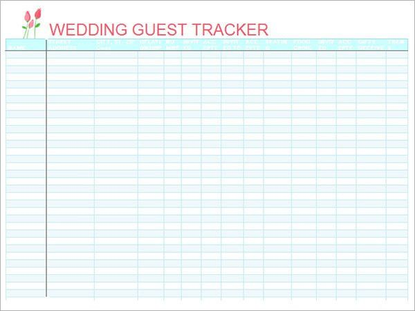 Blank Wedding Guest Tacker List Template Sample : Helloalive