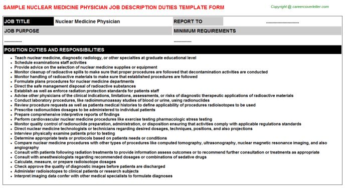 Nuclear Medicine Physician Job Description