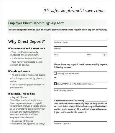 Direct Deposit Authorization Form. Bank Direct Deposit Form ...