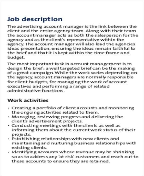 Account Management Job Description Sample - 8+ Examples in Word, PDF