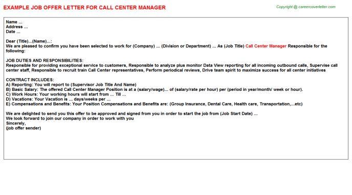 Call Center Manager Offer Letter